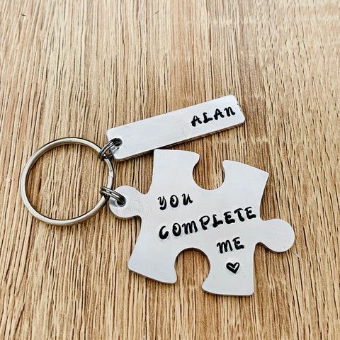 You Complete Me Keyring - Silver Magpie Fingerprints