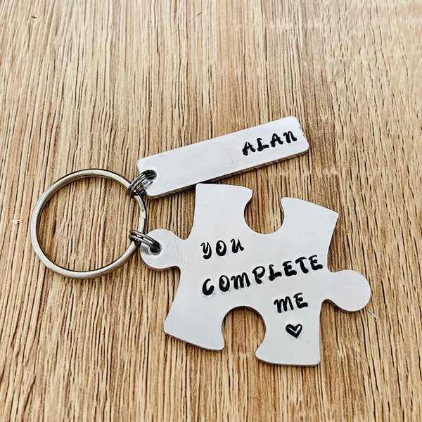 Personalised Jigsaw Keyring - Silver Magpie Fingerprints
