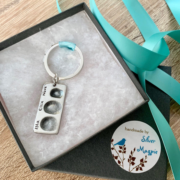 Fingerprint Keyring - Silver Magpie Fingerprint Jewellery