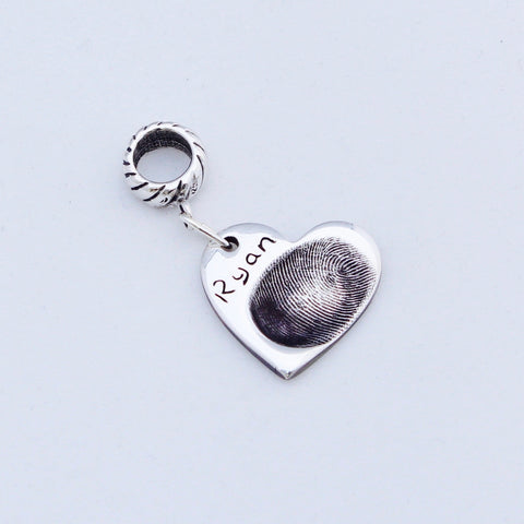 Heart Fingerprint Charm - Silver Magpie Fingerprints