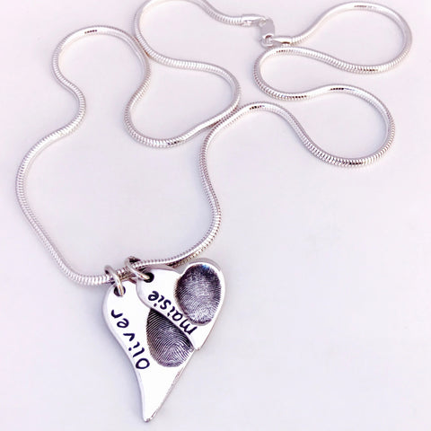 Graduated Offset Heart Pendant - Silver Magpie Fingerprints