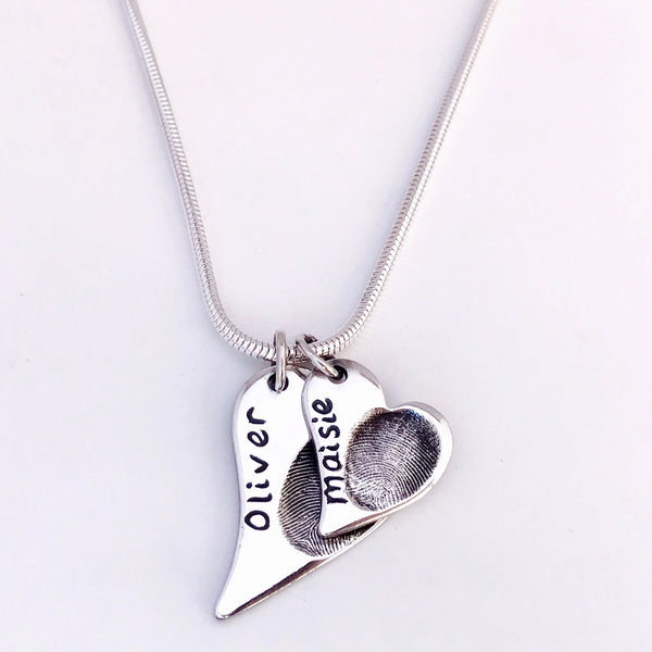 Double Offset Heart Pendant - Silver Magpie Fingerprints