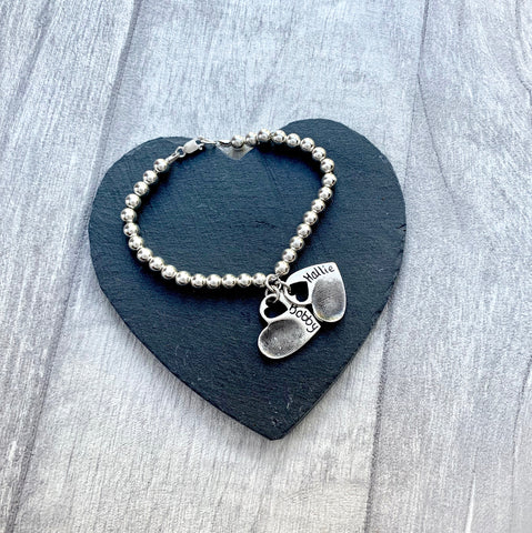 Fingerprint Bead Bracelet (Open Heart) - Silver Magpie Fingerprint Jewellery