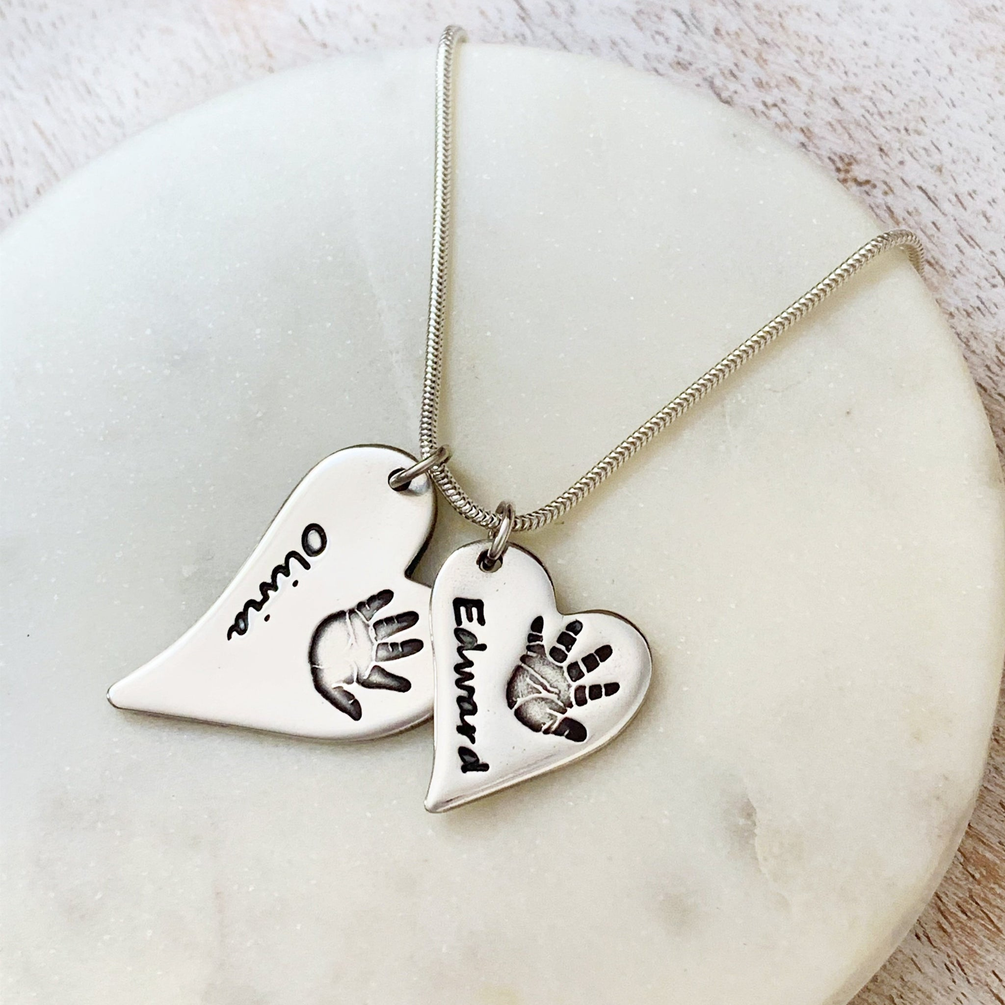 Double Hand & Foot Print Necklace (Off-Set Heart) - Silver Magpie Fingerprint Jewellery