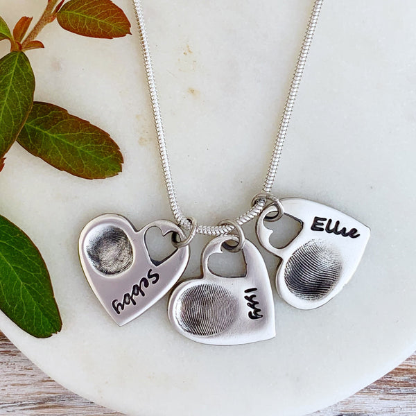 Triple Fingerprint Necklace (Tiny Heart) - Silver Magpie Fingerprint Jewellery