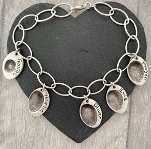 Fingerprint Oval Charm Bracelet - Silver Magpie Fingerprint Jewellery