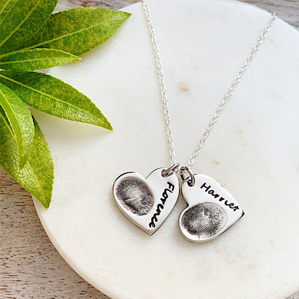 Double Fingerprint Necklace (Heart) - Silver Magpie Fingerprint Jewellery