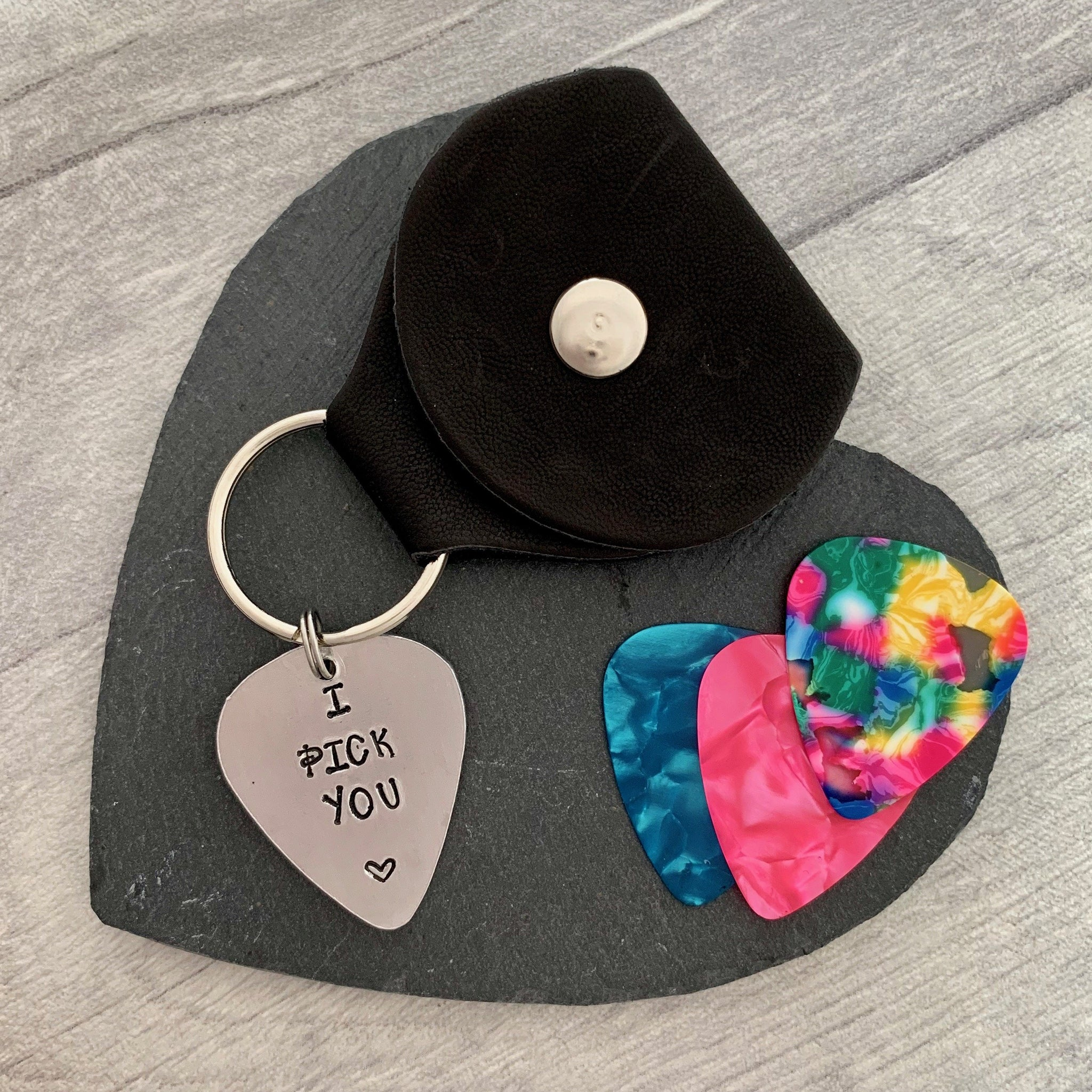 Personalised Plectrum Keyring - Silver Magpie Fingerprint Jewellery