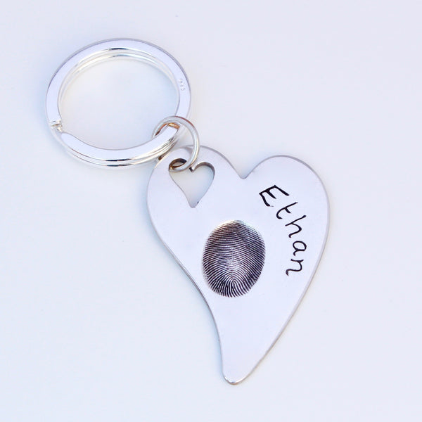 Fingerprint Keyring (large heart) - Silver Magpie Fingerprint Jewellery
