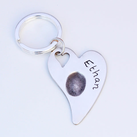 Heart Keyring (large) - Silver Magpie Fingerprints