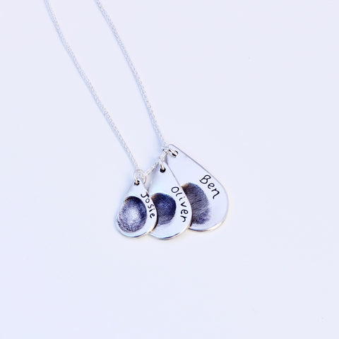 Triple Fingerprint Necklace (Teardrop) - Silver Magpie Fingerprint Jewellery