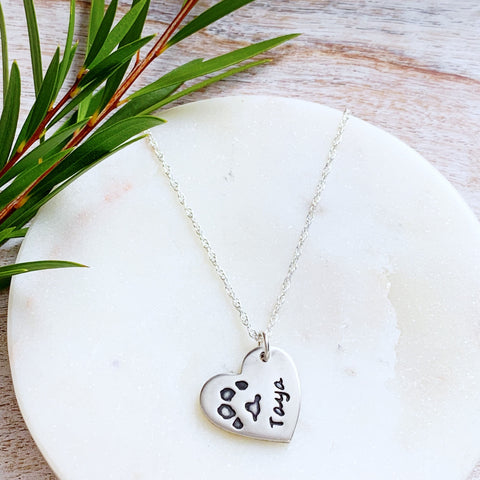 Pawprint Necklace (Heart) - Silver Magpie Fingerprint Jewellery