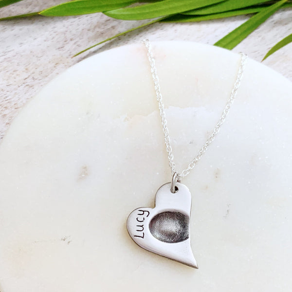 Fingerprint Necklace (Heart) - Silver Magpie Fingerprint Jewellery