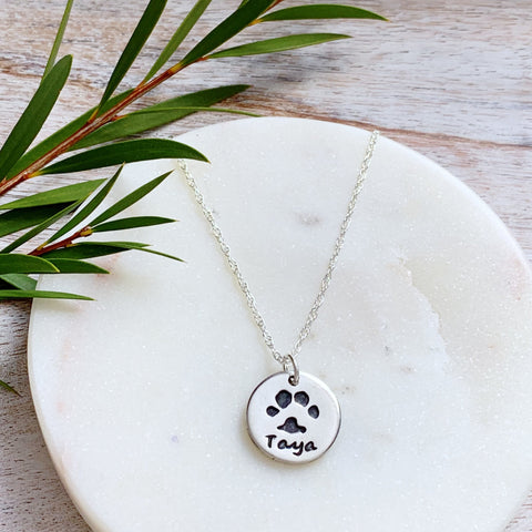 Paw Print Necklace (Round) - Silver Magpie Fingerprint Jewellery