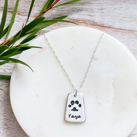 Dog-Tag Paw Print Necklace - Silver Magpie Fingerprint Jewellery
