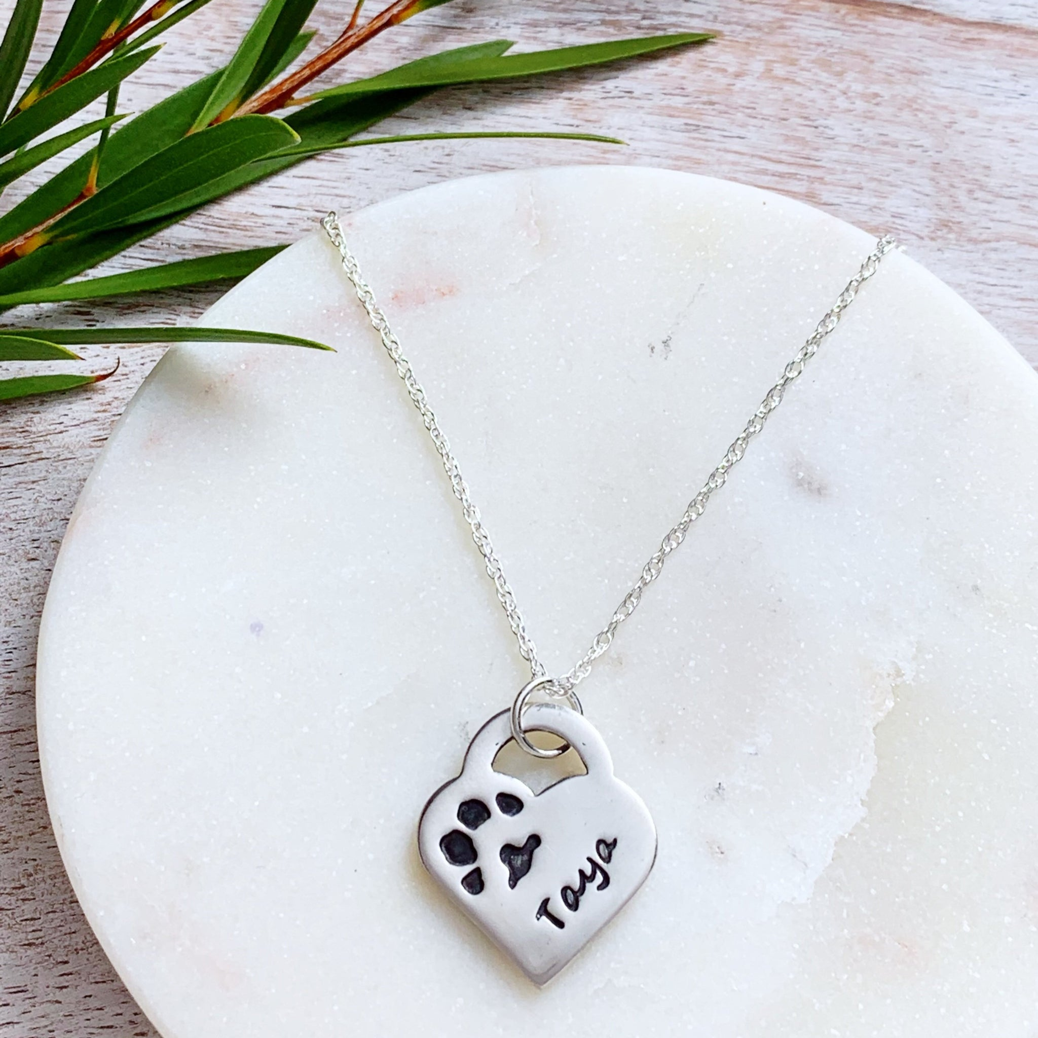 Paw Print Necklace (Lock Heart) - Silver Magpie Fingerprint Jewellery