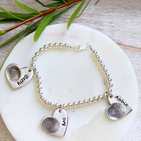Triple Fingerprint Bead Bracelet - Silver Magpie Fingerprint Jewellery