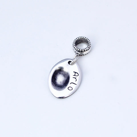 Oval Fingerprint Charm - Silver Magpie Fingerprints
