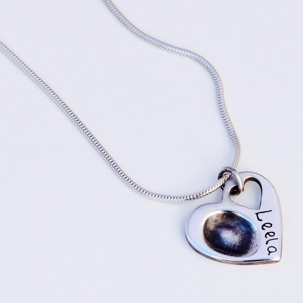 Open Heart Pendant - Silver Magpie Fingerprints