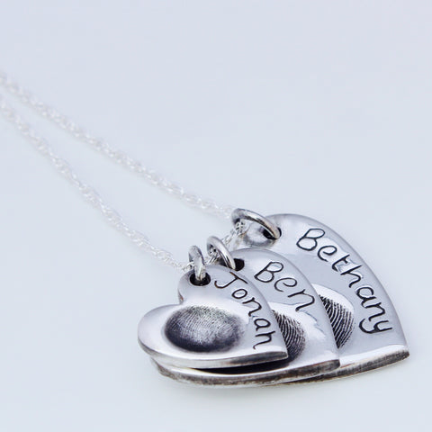 Triple Heart Pendant - Silver Magpie Fingerprints