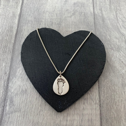 Footprint Necklace - Silver Magpie Fingerprint Jewellery