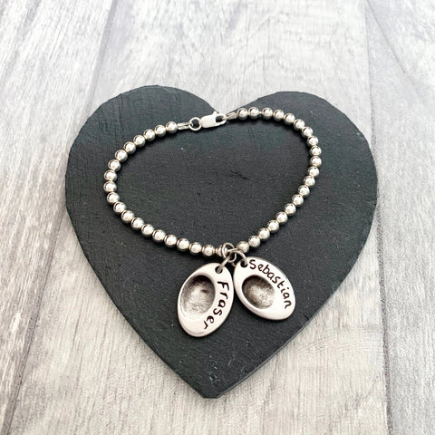 Fingerprint Bead Bracelet (Oval) - Silver Magpie Fingerprint Jewellery