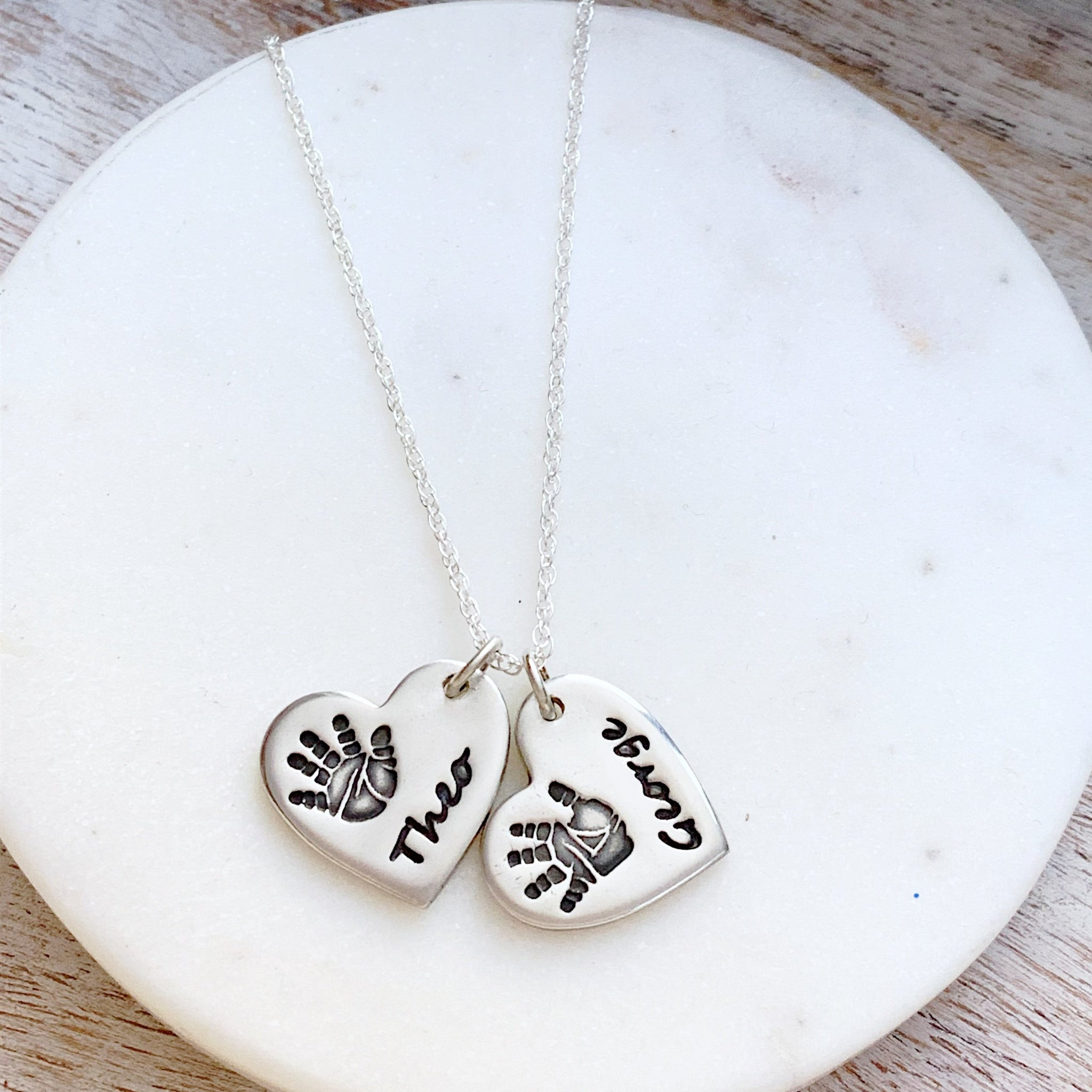 Double Hand & Foot Print Necklace (Heart) - Silver Magpie Fingerprint Jewellery