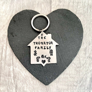 Personalised Family Keyring - Silver Magpie Fingerprints