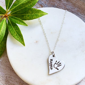 Handprint Necklace (Off-Set Heart) - Silver Magpie Fingerprint Jewellery