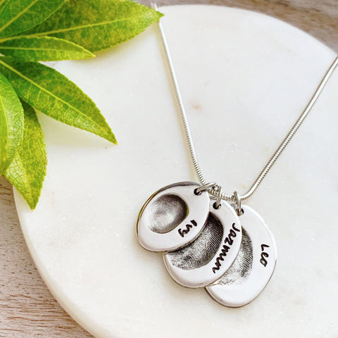 Triple Fingerprint Necklace (Oval) - Silver Magpie Fingerprint Jewellery