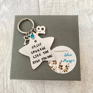 Personalised Star Keyring - Silver Magpie Fingerprints