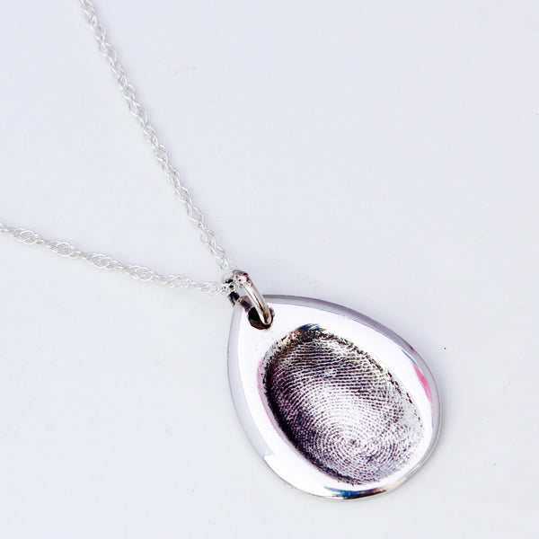 Rose Petal Fingerprint Pendant - Silver Magpie Fingerprints