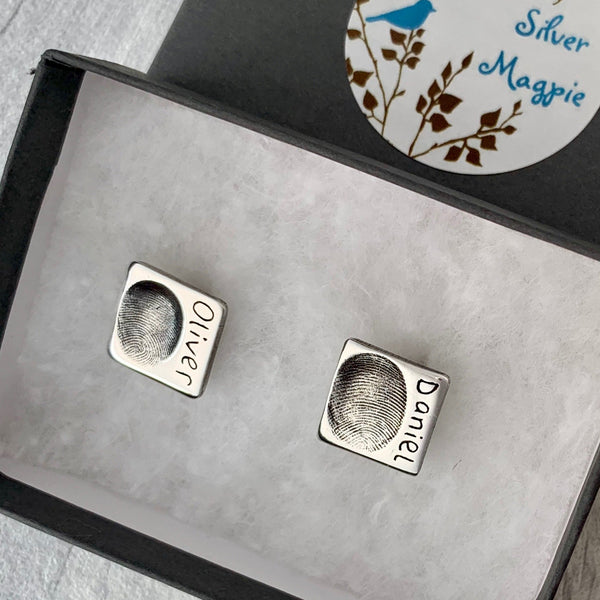 Groom Square Cufflinks - Silver Magpie Fingerprints