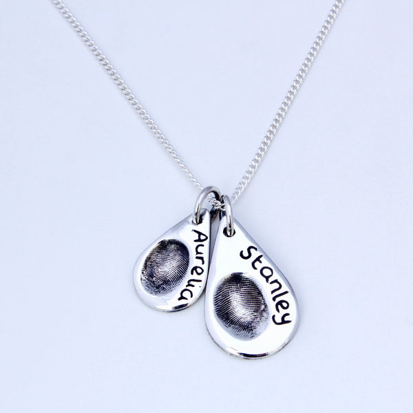 Double Teardrop Pendant - Silver Magpie Fingerprints