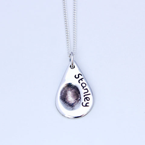 Teardrop Fingerprint Pendant - Silver Magpie Fingerprints