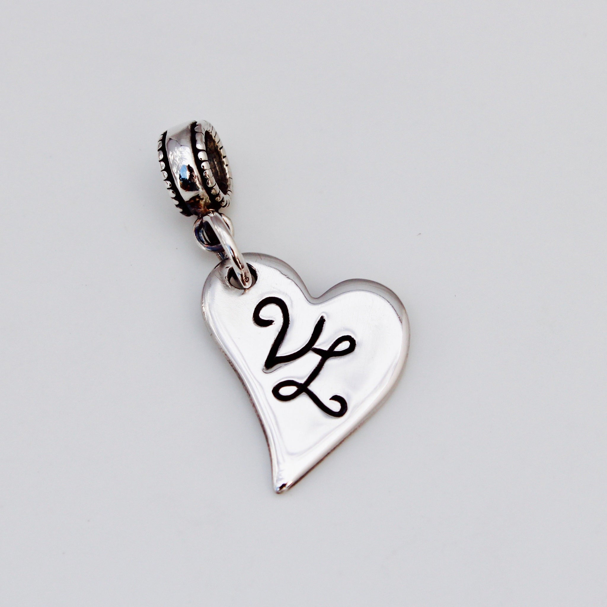 Bespoke Initial Charm - Silver Magpie Fingerprint Jewellery