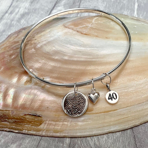 Milestone Fingerprint Bangle - Silver Magpie Fingerprints
