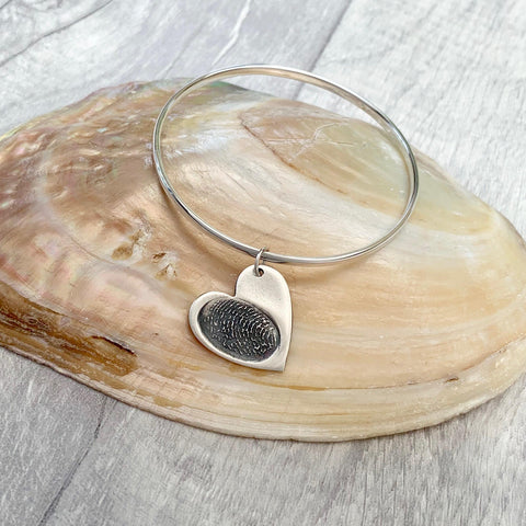 Fingerprint Bangle (Heart) - Silver Magpie Fingerprint Jewellery