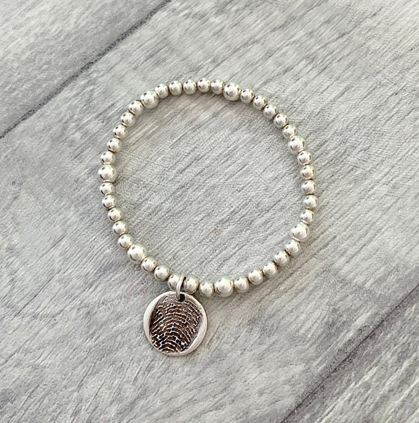 Sterling Bead Bracelet - Silver Magpie Fingerprint Jewellery