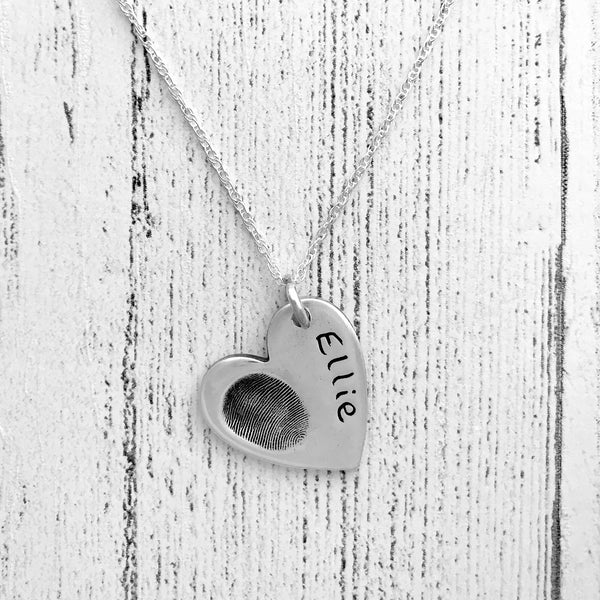 Large Heart Pendant - Silver Magpie Fingerprints