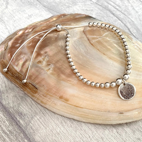 Fingerprint Sliding Bead Bracelet - Silver Magpie Fingerprint Jewellery