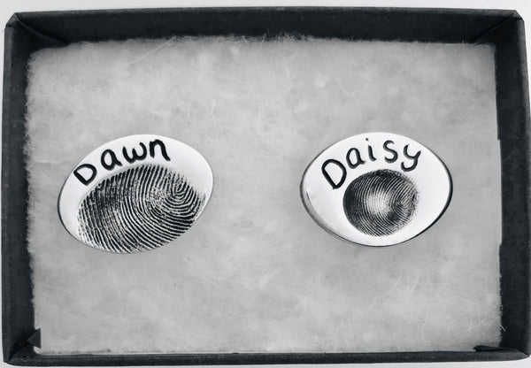Oval Cufflinks - Silver Magpie Fingerprints