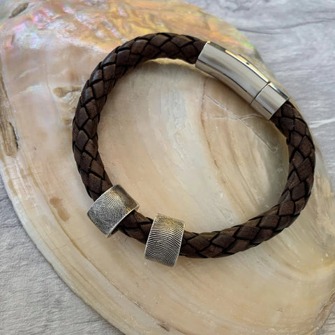 Leather Fingerprint Bracelet