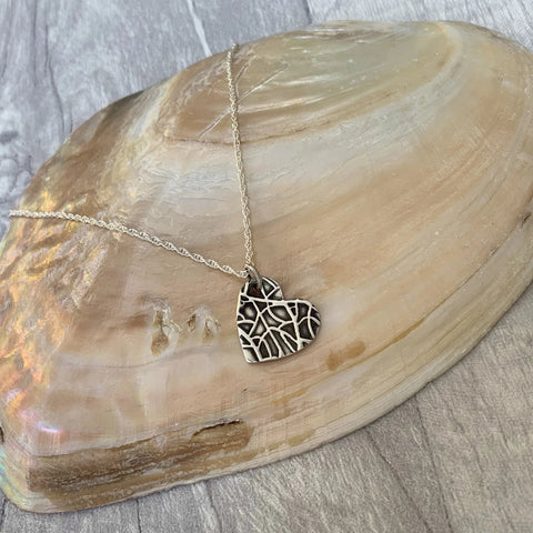 Silver Heart Necklace - Silver Magpie Fingerprint Jewellery