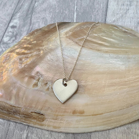 Simple Heart Pendant - Silver Magpie Fingerprints