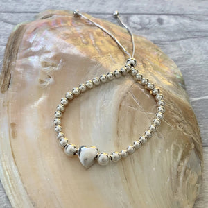 Bridesmaid Heart Bead Bracelet - Silver Magpie Fingerprints