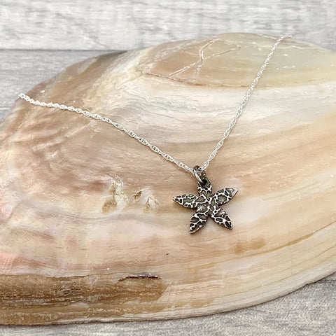 Bridesmaid Star Flower Necklace - Silver Magpie Fingerprint Jewellery
