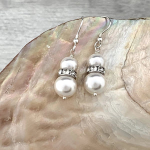 Pearl Drop Earrings - Silver Magpie Fingerprint Jewellery
