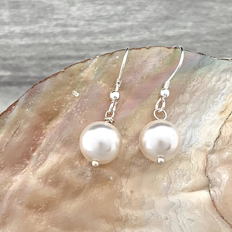 Pearl Earrings - Silver Magpie Fingerprint Jewellery
