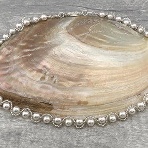 Pearl Bridal Necklace - Silver Magpie Fingerprint Jewellery